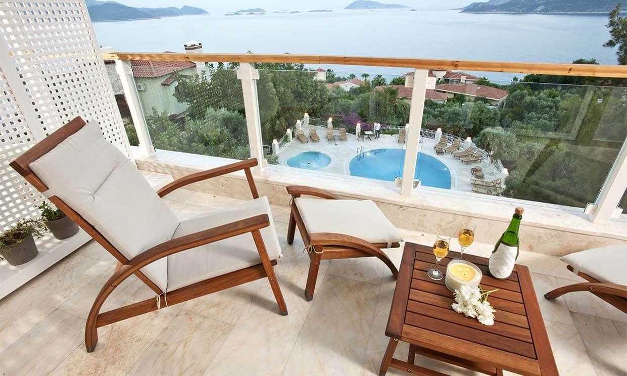 Balcony overlooking pool area